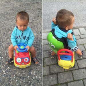Jonathan på vei til barnehagen.