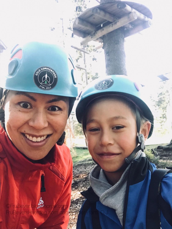 Klare for utfordringer i høyt og lavt klatrepark @Tryvann