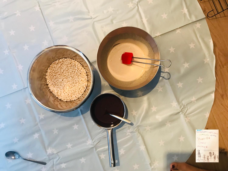 Puffet ris sjokolade