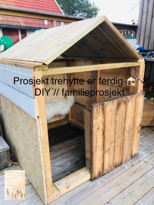 Prosjekt trehytte til barna er ferdig! Og på plass i hagen