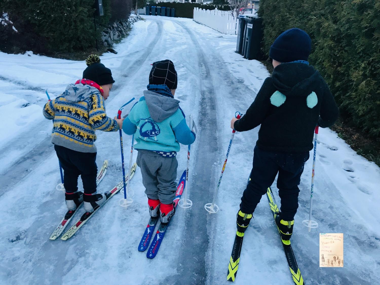 Årets første skitur / i hagen ⛷