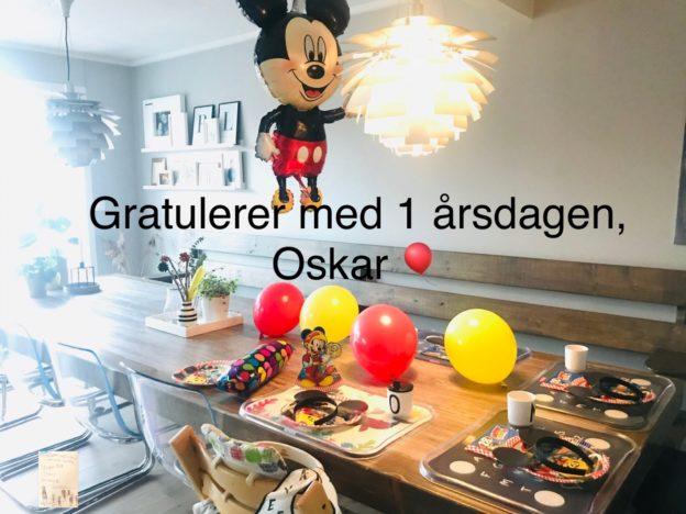 Temabursdag @FruBeversHverdag // bursdagsboksen Mikke Mus // Oskar 1 år // fødedag