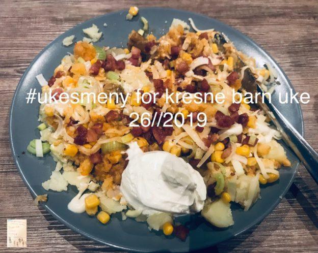 Ukesmeny for kresne barn uke 26//2019 middagstips