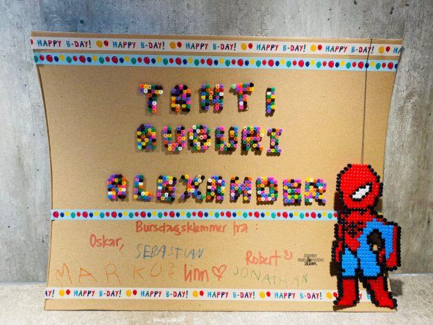 DIY Bursdagskort Spiderman perle @FruBevershverdag