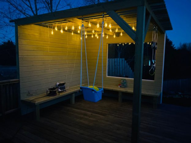 DIY barnevennlig pergola by night 🌙 [FruBeversHverdag]